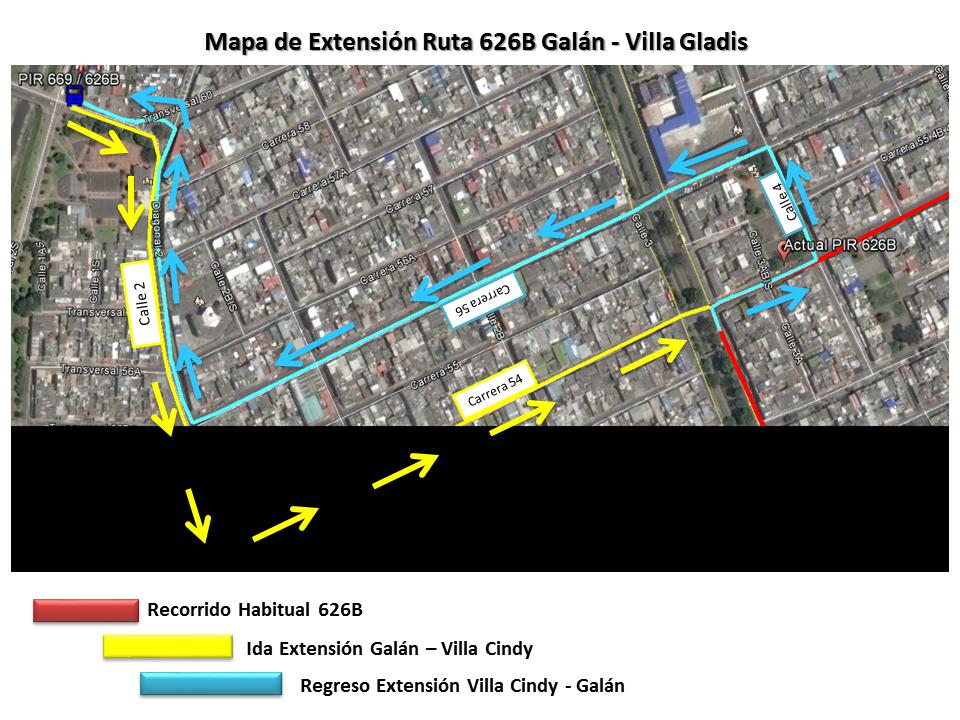 Ligera extensión de la ruta 626B - urbana 1