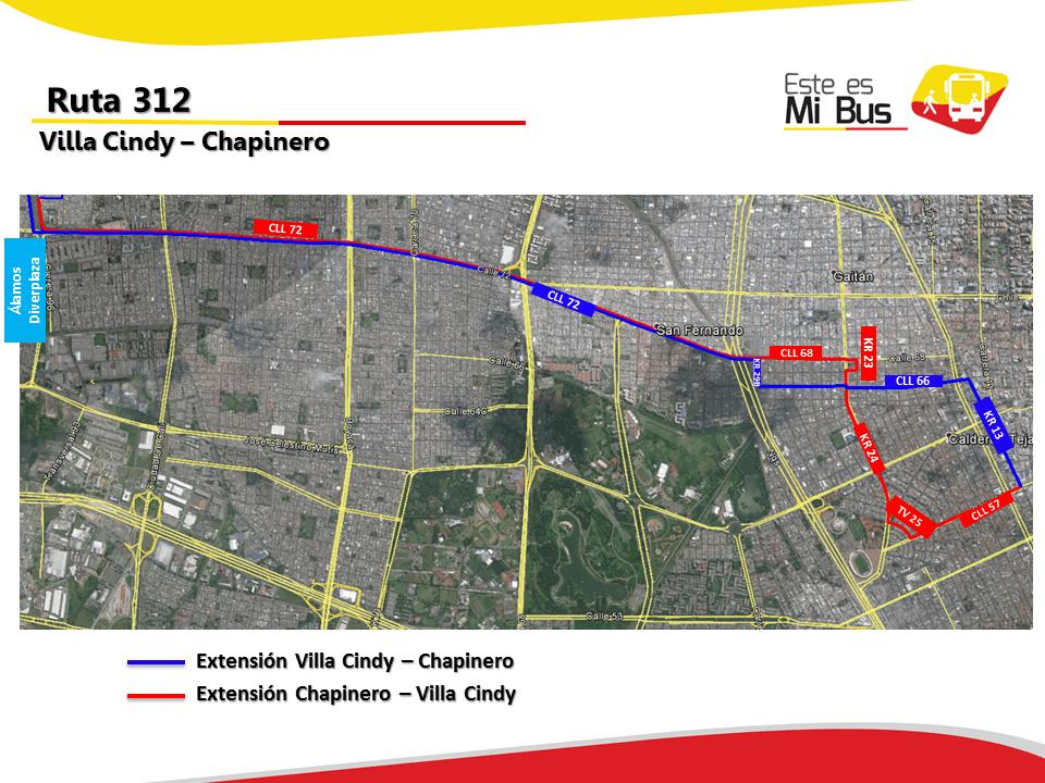 Ruta 312 urbana se amplía a Chapinero