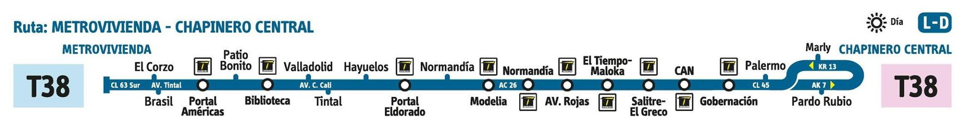 Ruta SITP: T38 Metrovivienda ↔ Chapinero Central [Urbana] 1