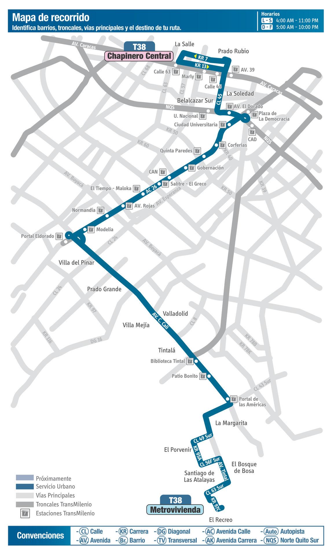 Ruta SITP: T38 Metrovivienda ↔ Chapinero Central [Urbana] 2