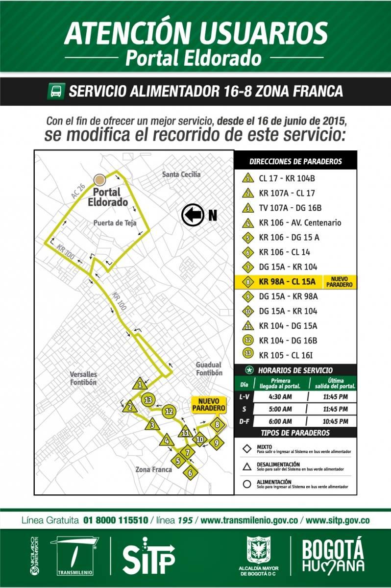 Cambios en el alimentador 16-8 Zona Franca