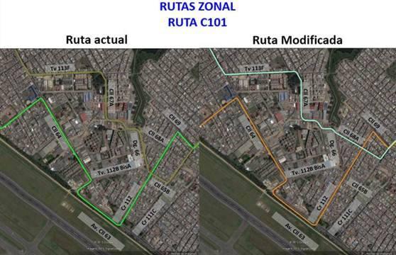 Ligeros cambios en la urbana C101