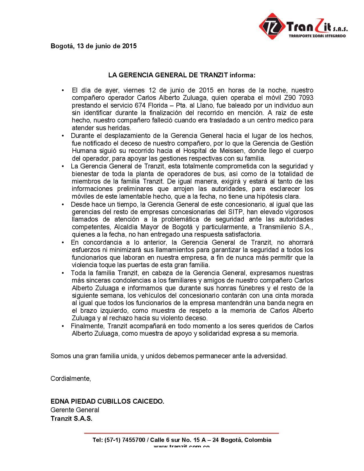 Tranzit informó través de los medios sobre la pérdida de Carlos Alberto Zuluaga