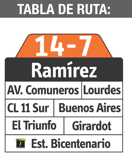 Ruta SITP: 14-7 Ramírez [Complementaria ] 4
