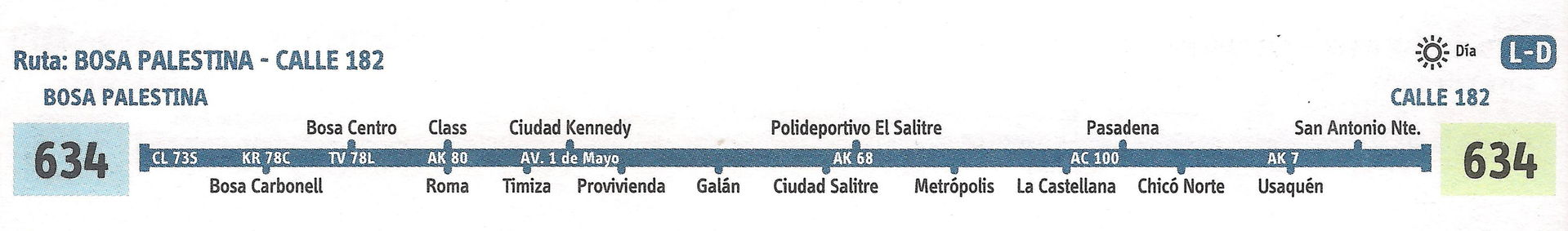 Ruta SITP: 634 Bosa Palestina ↔ Calle 183 [Urbana] 1