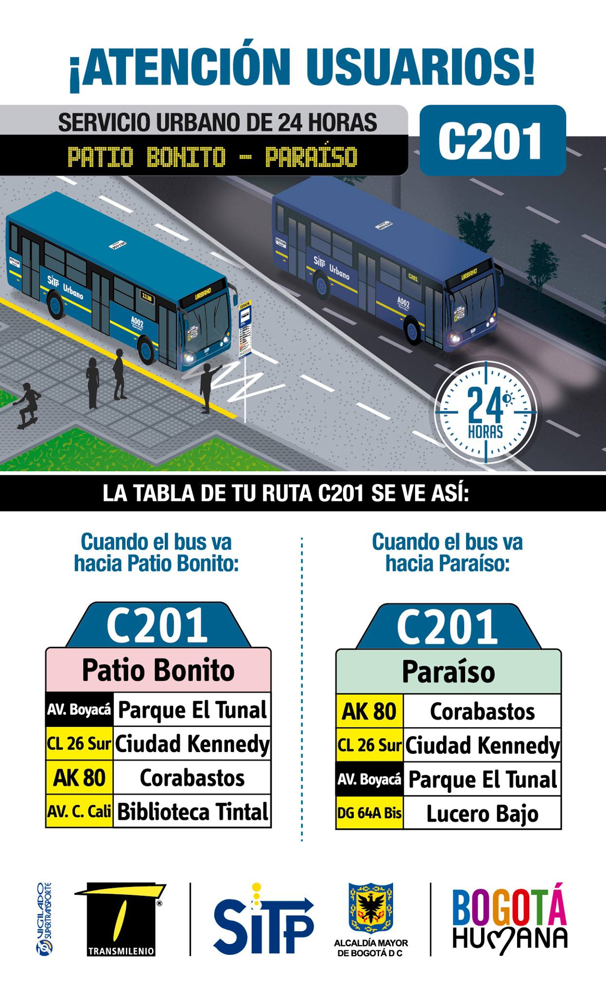 ¿Sabías que la ruta C201 urbana opera 24 horas?