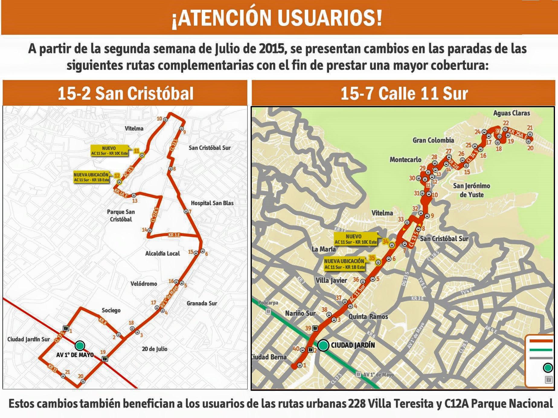Ligera modificación de paraderos en la complementaria 15-2 San Cristóbal