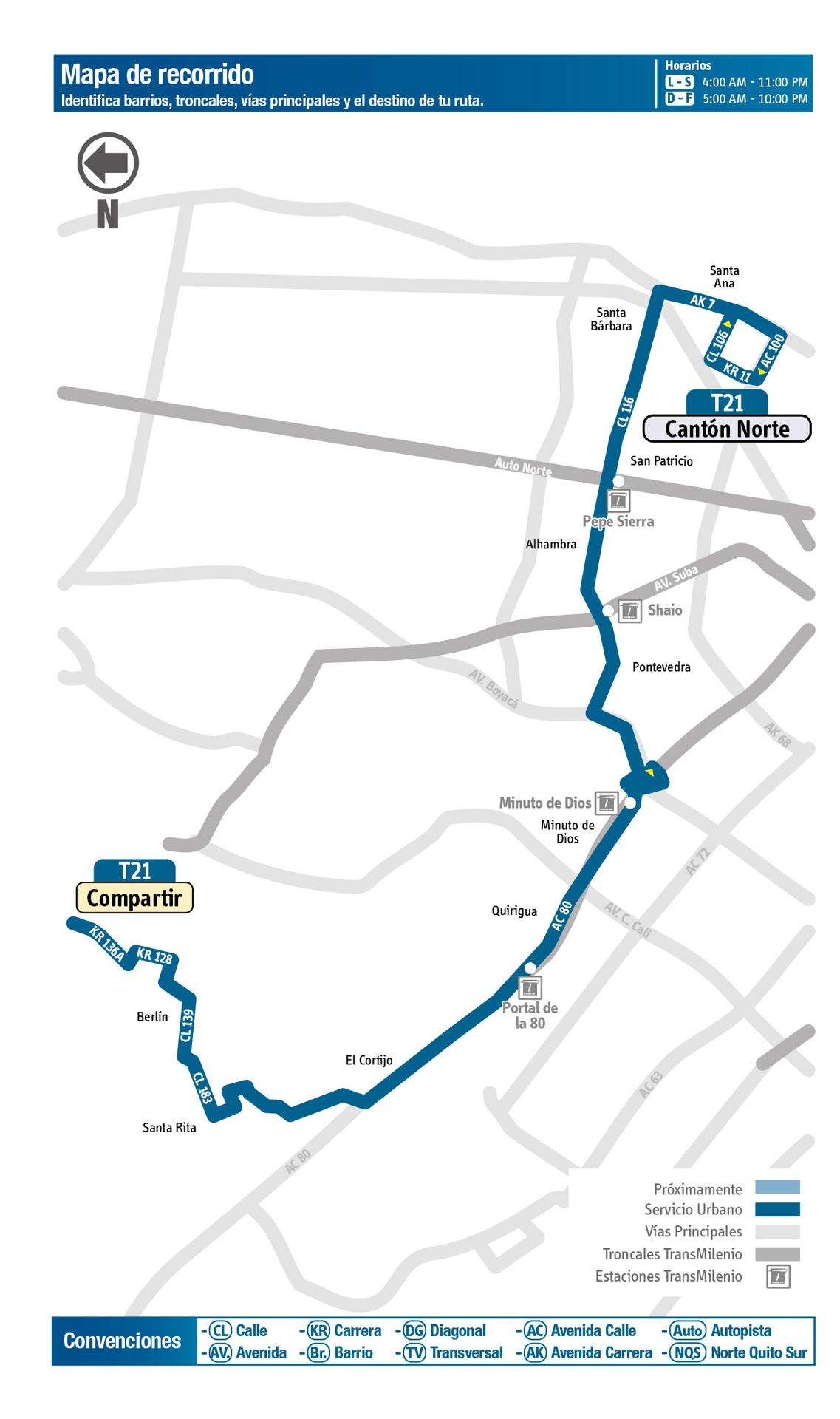 Ruta SITP: Ruta T21: Compartir ↔ Cantón Norte [Urbana] 2