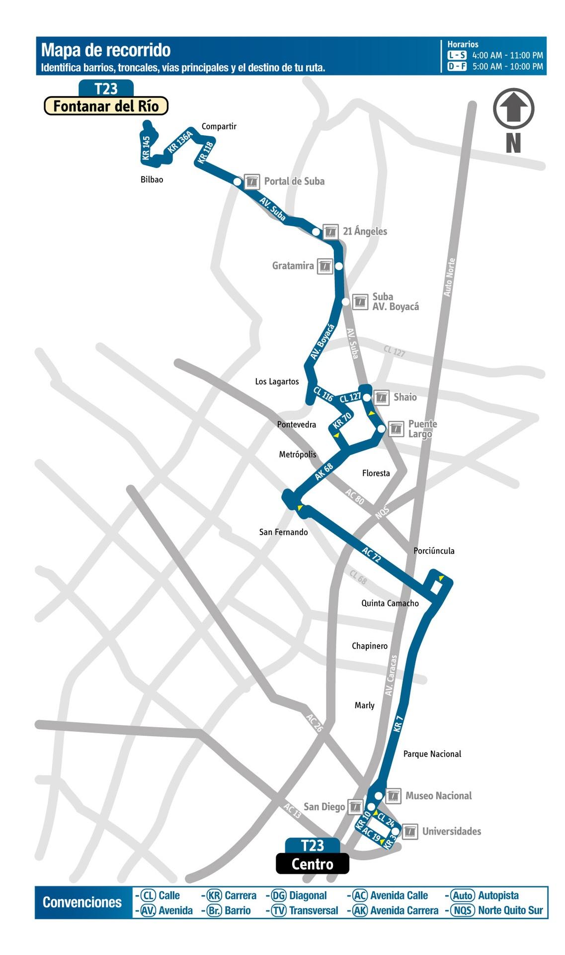 Ruta SITP: Ruta T23: Fontanar del Río ↔ Centro [Urbana]