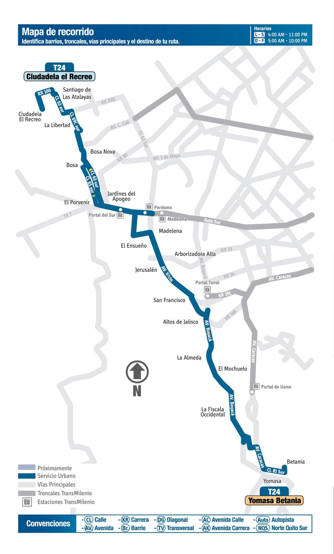 Ruta SITP: T24 - Yomasa Betania ↔ Ciudadela El Recreo [Urbana]