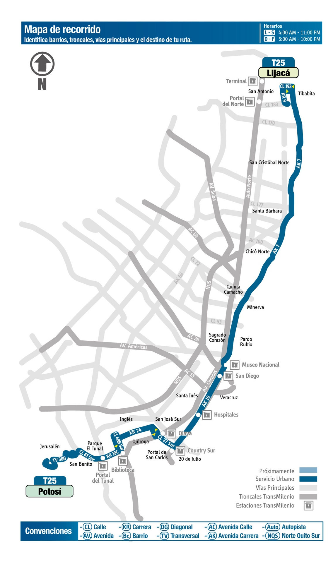 Ruta SITP: T25 Potosí ↔ Lijacá [Urbana] 2