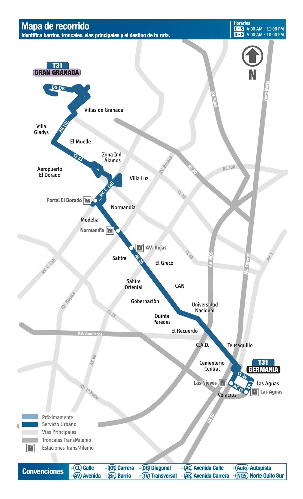 Ruta SITP: T31 - Gran Granada ↔ Germania [Urbana] 5
