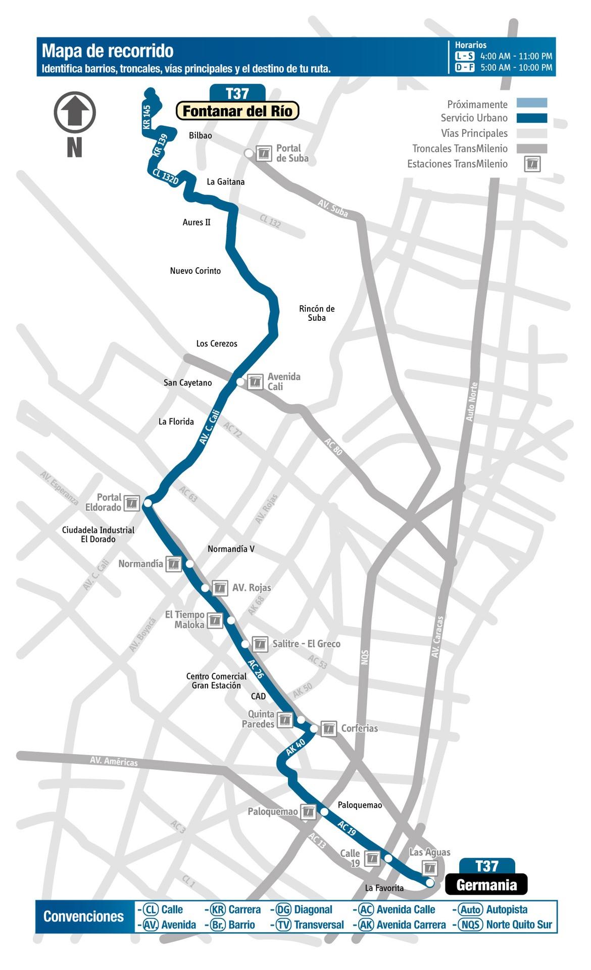 Ruta SITP: T37 Fontanar del Río ↔ Germania [Urbana] 2