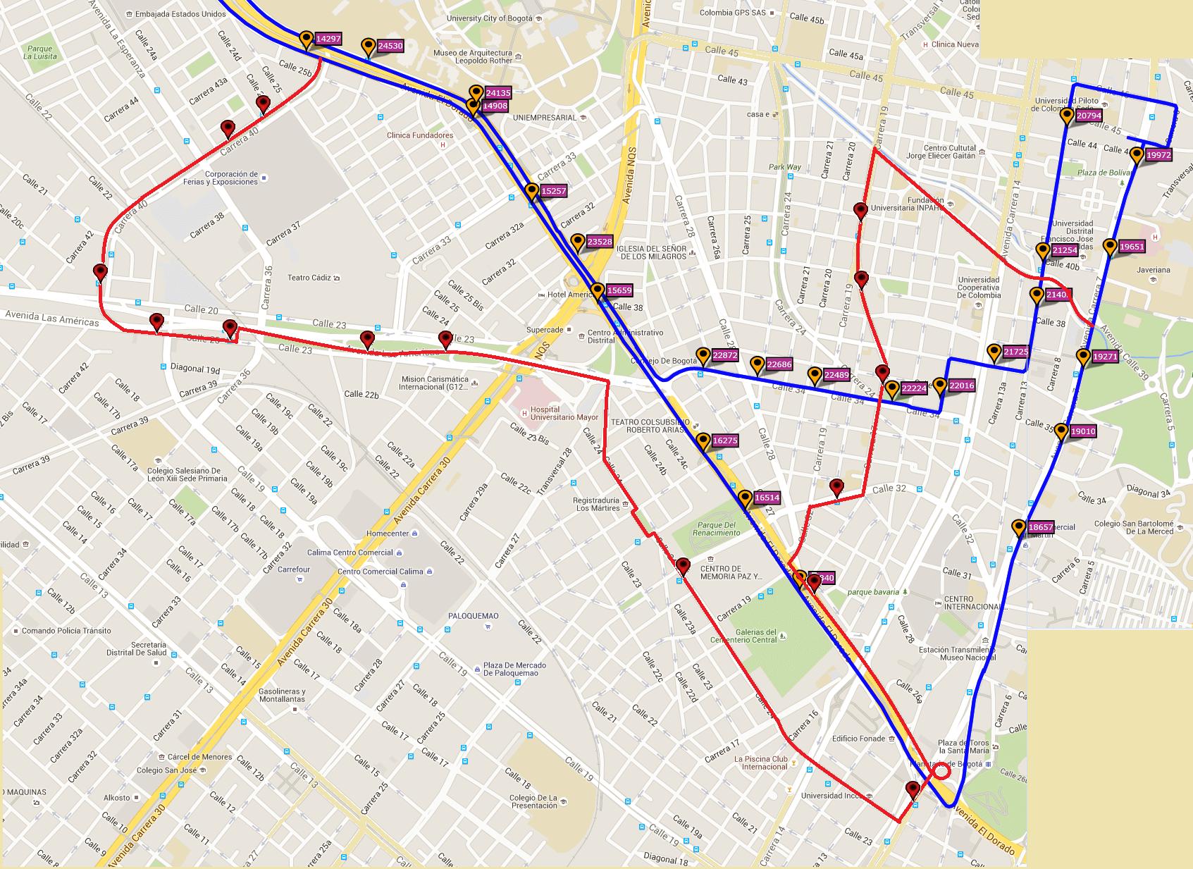 Ruta SITP: Ruta T40 - Catalina II ↔ Marly [Urbana] 4