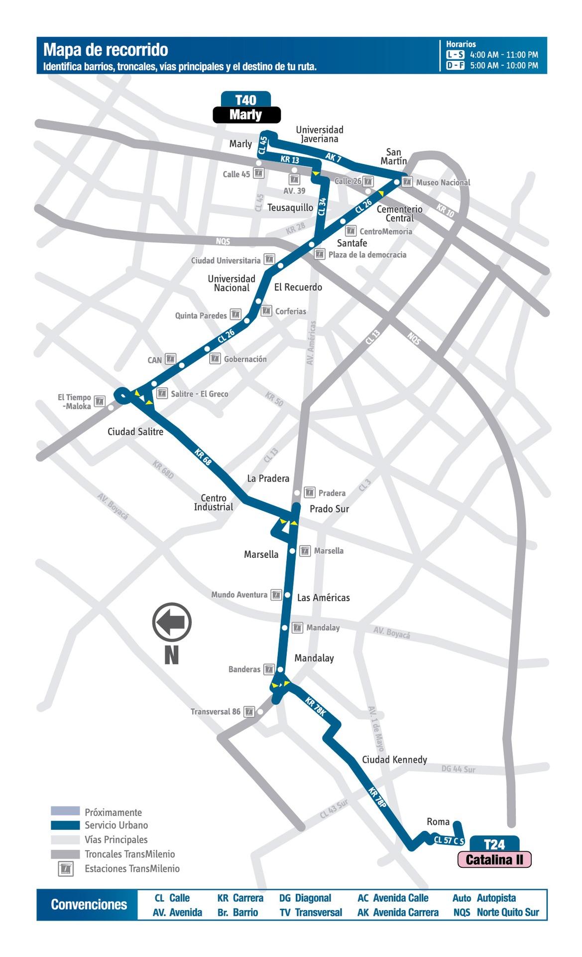 Ruta SITP: Ruta T40 - Catalina II ↔ Marly [Urbana] 2