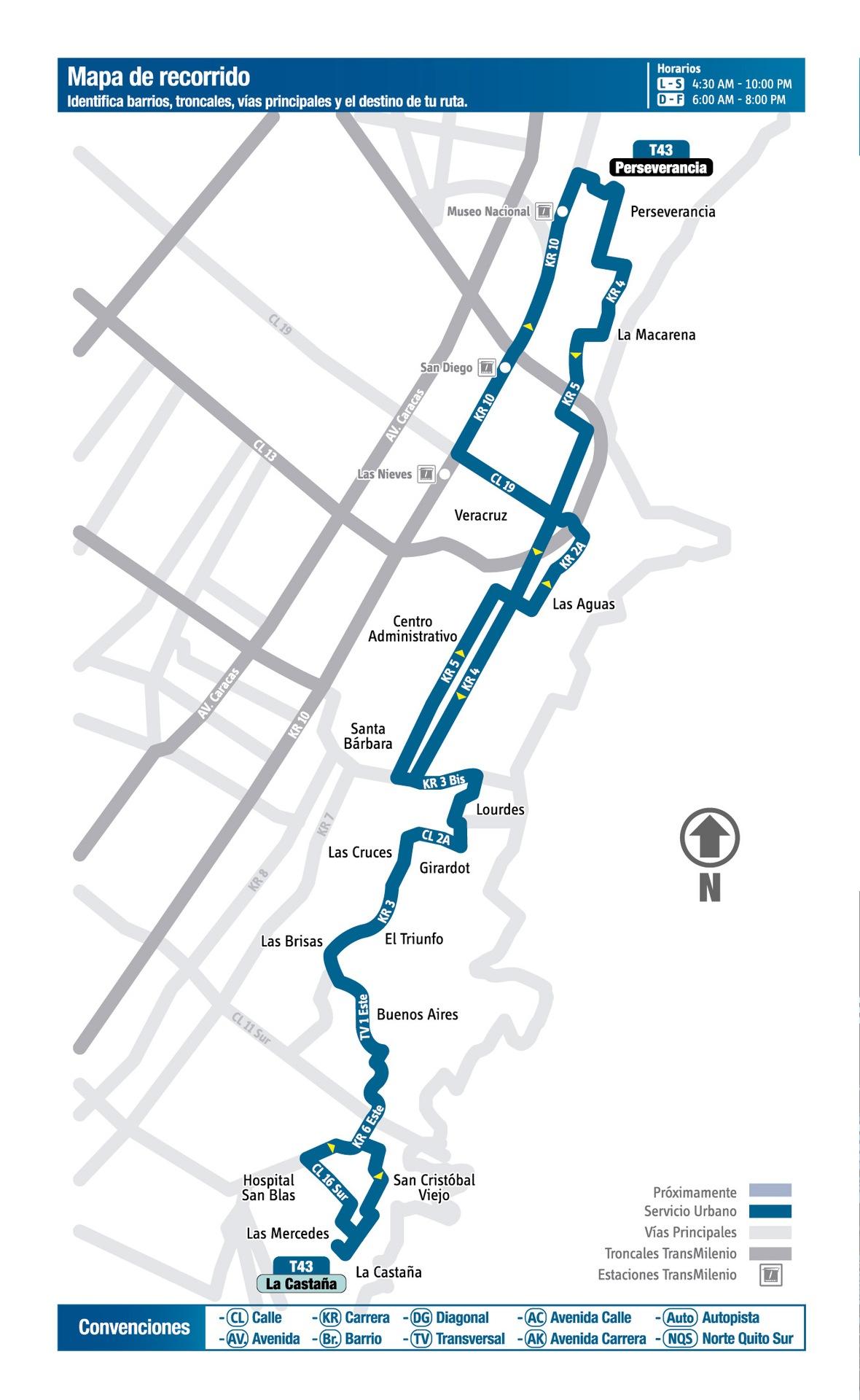 Ruta SITP: T43: La Castaña ↔ Perseverancia [Urbana] 2