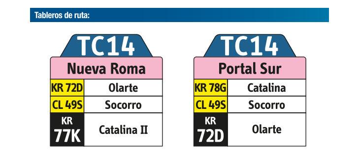 Ruta SITP: TC14 Nueva Roma ↔ Portal Sur [Urbana] 4