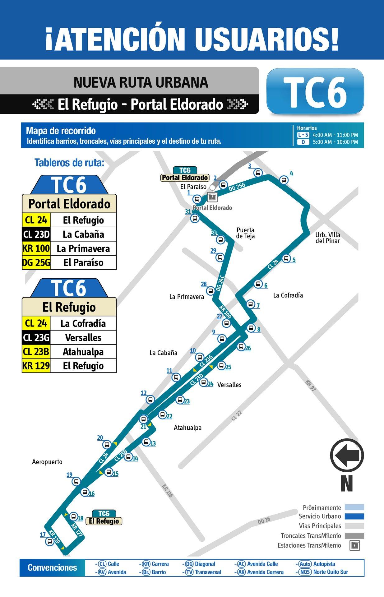 Ruta SITP: TC6: El Refugio ↔ Portal Eldorado [Urbana] 3