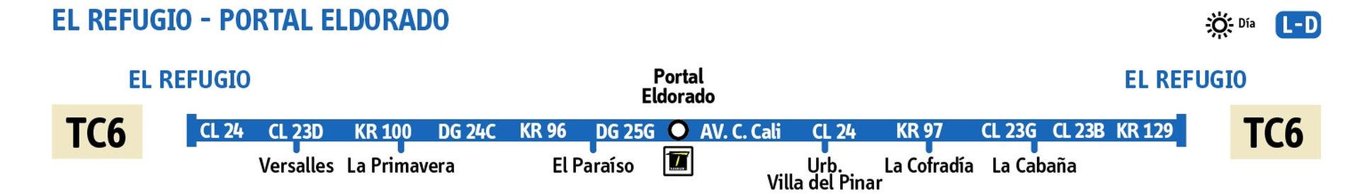 Ruta SITP: TC6: El Refugio ↔ Portal Eldorado [Urbana] 2