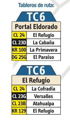 Ruta SITP: TC6: El Refugio ↔ Portal Eldorado [Urbana] 4