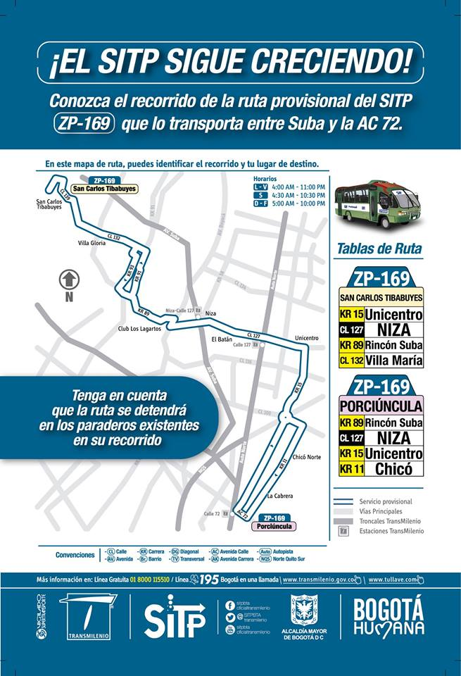 ZP-169 SAN CARLOS TIBABUYES (SUBA) - PORCIUNCULA - CIRCULAR