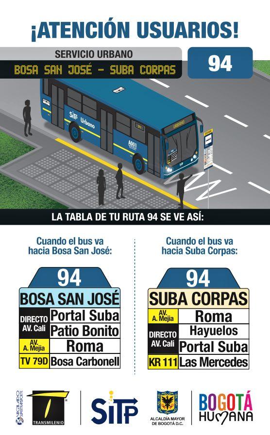 Nueva urbana: 94 Bosa San José - Suba Corpas