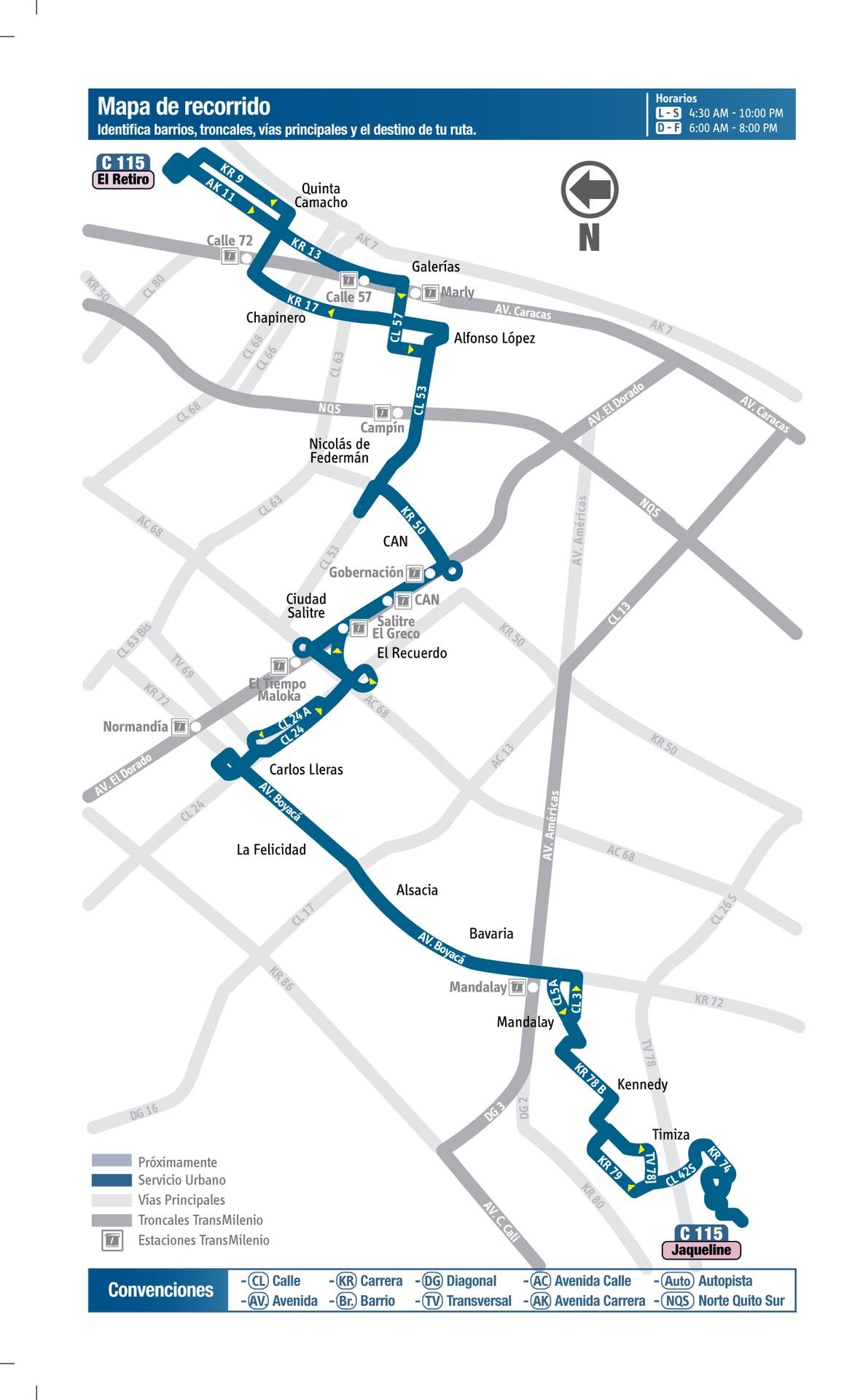 Ruta SITP: C115 Jaqueline ↔ El Retiro [Urbana] 2