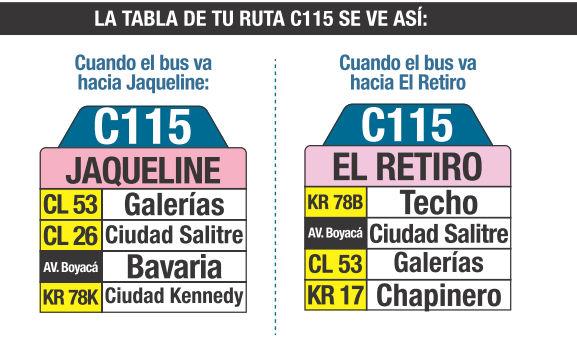 Ruta SITP: C115 Jaqueline ↔ El Retiro [Urbana] 3