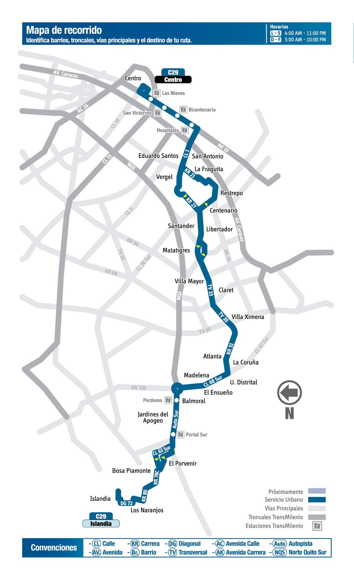 Ruta SITP: Ruta C29 Islandia ↔ Centro [Urbana] 3