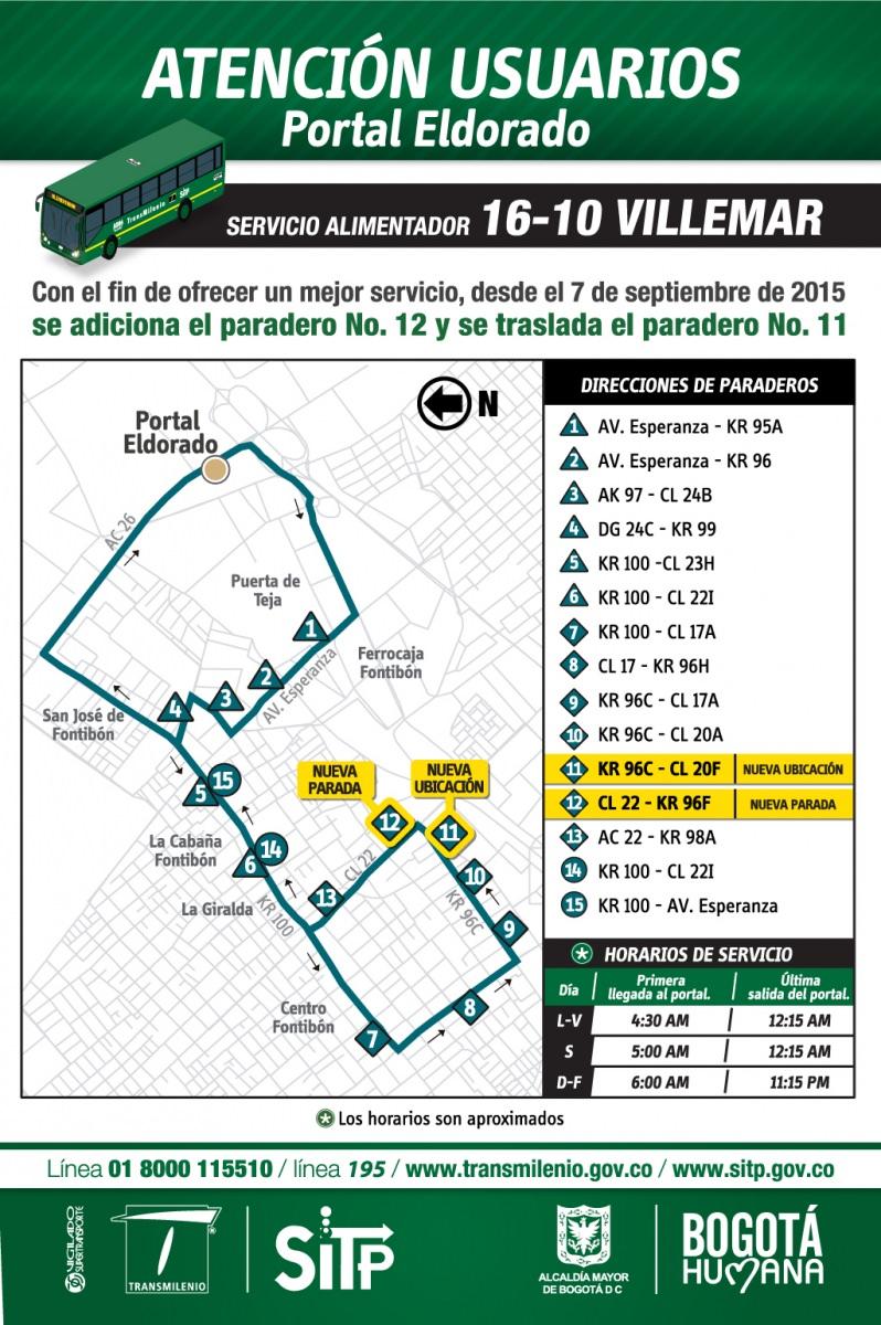 Alimentador 16-10 Villemar tiene cambios desde el 7 de septiembre