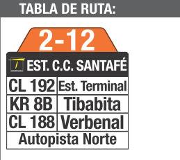 Ruta SITP: 2-12 Tibabita [Complementaria] 8