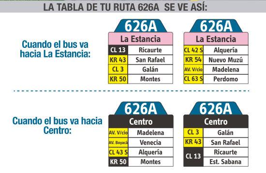 Ruta SITP: 626A La Estancia ↔ Germania [Urbana] 1