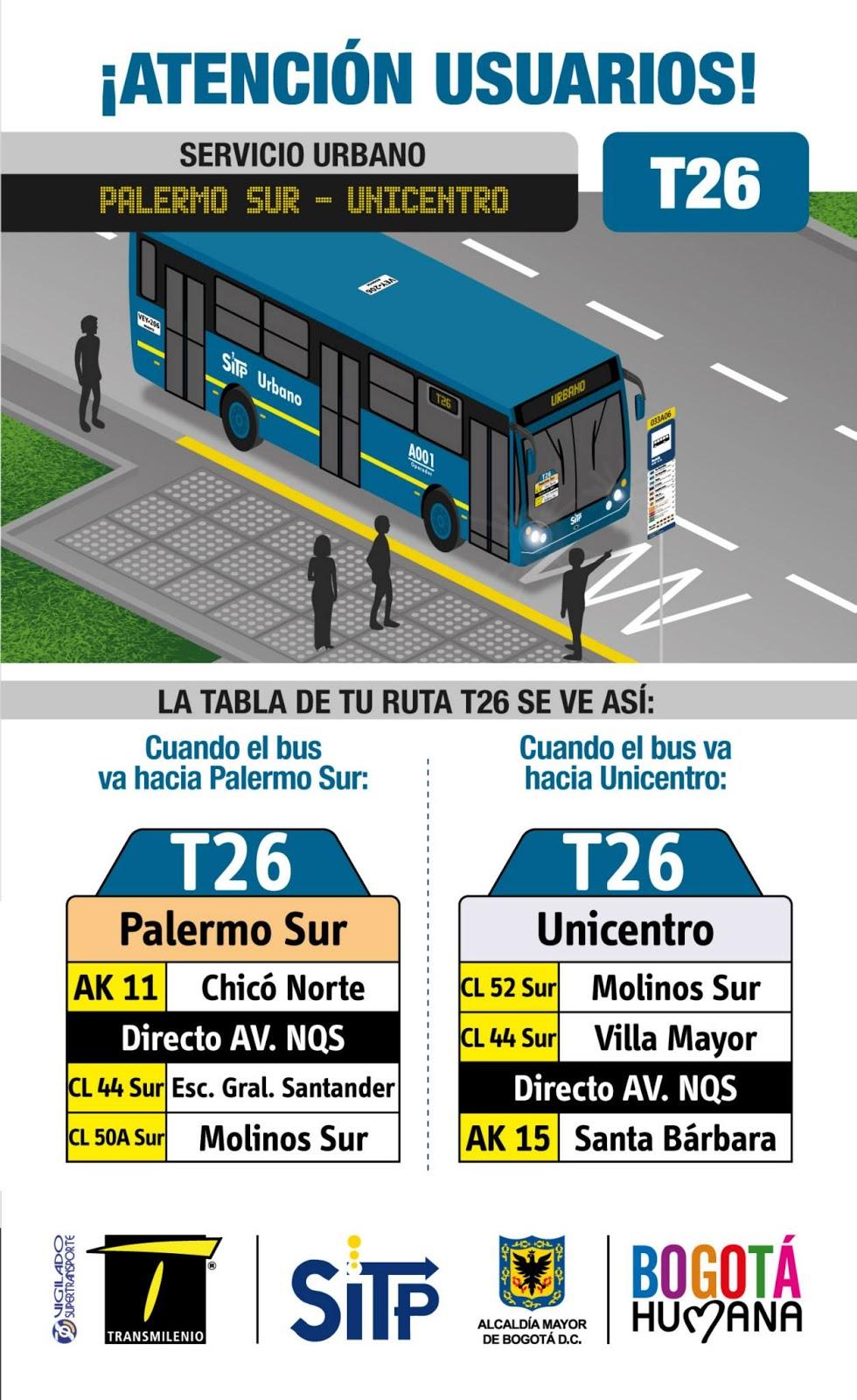 Nueva ruta urbana T26, por la carrera 30 2