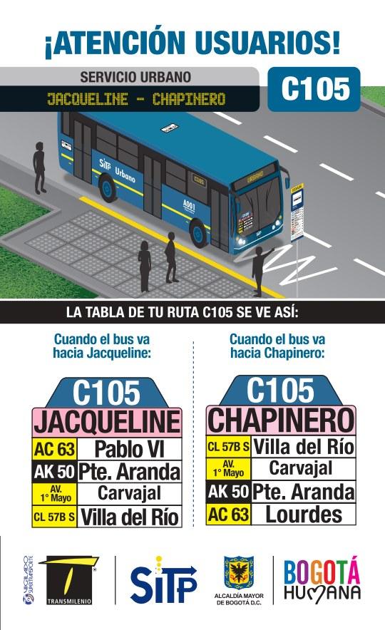 Nueva urbana: C105 Jacqueline - Chapinero