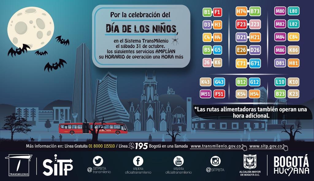 Transmilenio te invita a celebrar el Día de los Niños y amplía su horario