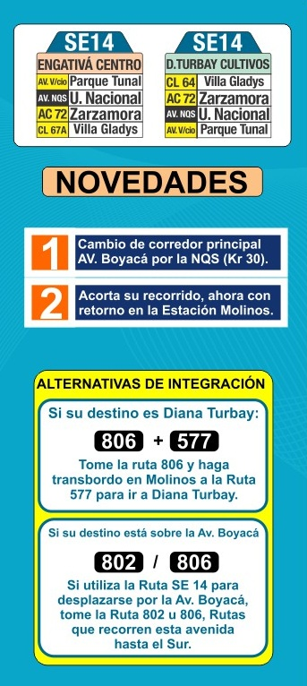 Rediseñada ruta SE14: Tunjuelito - Engativá Centro