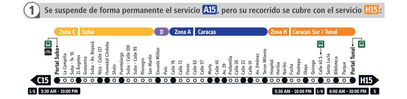 Atención usuarios de Suba - el servicio A15 se elimina