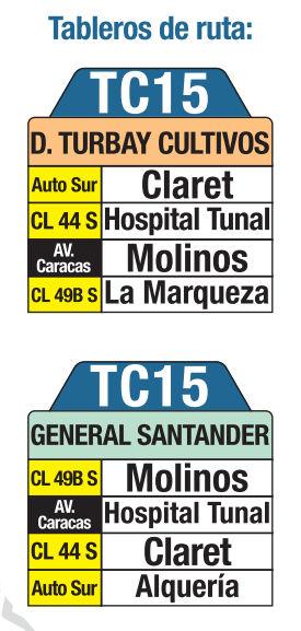 Ruta SITP: TC15 Diana Turbay Cultivos ↔ Estación General Santander [Urbana] 3