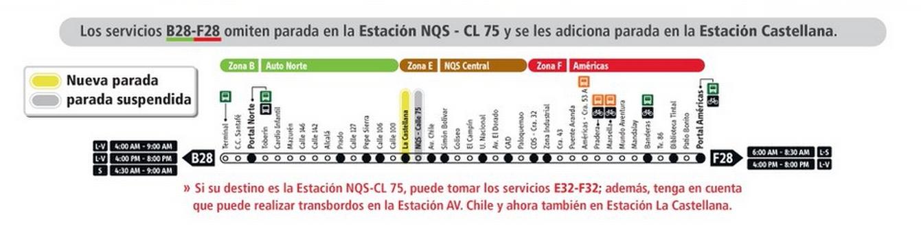 Servicio de Transmilenio B28-F28 tiene cambios