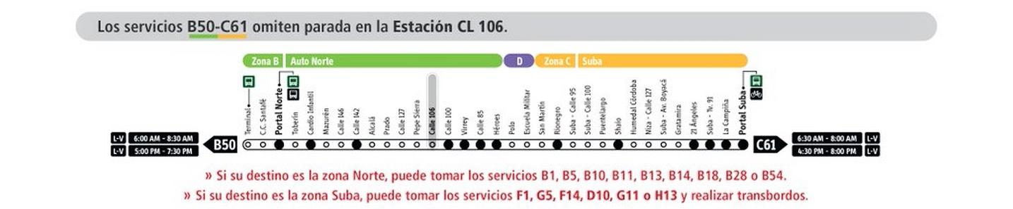 Servicio de Transmilenio B50-C61 ya no parará en la Estación Calle 106