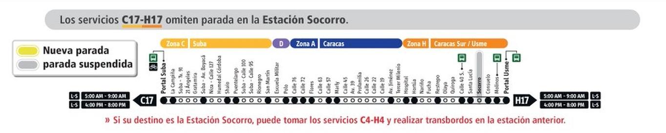 Servicio de Transmilenio C17-H17 tiene cambios