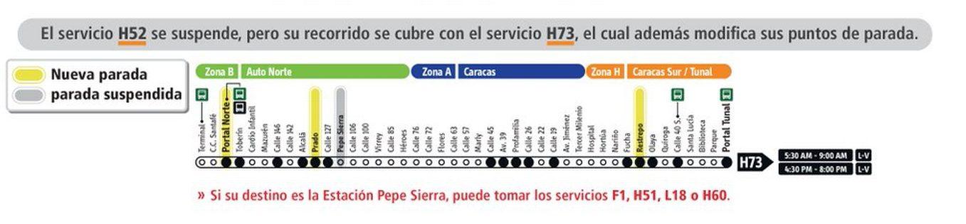 Servicio de Transmilenio H73 tiene cambios en sus paradas