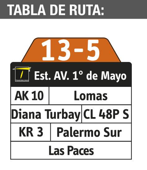 Ruta SITP: 13-5 → Las Paces [Complementaria] 2