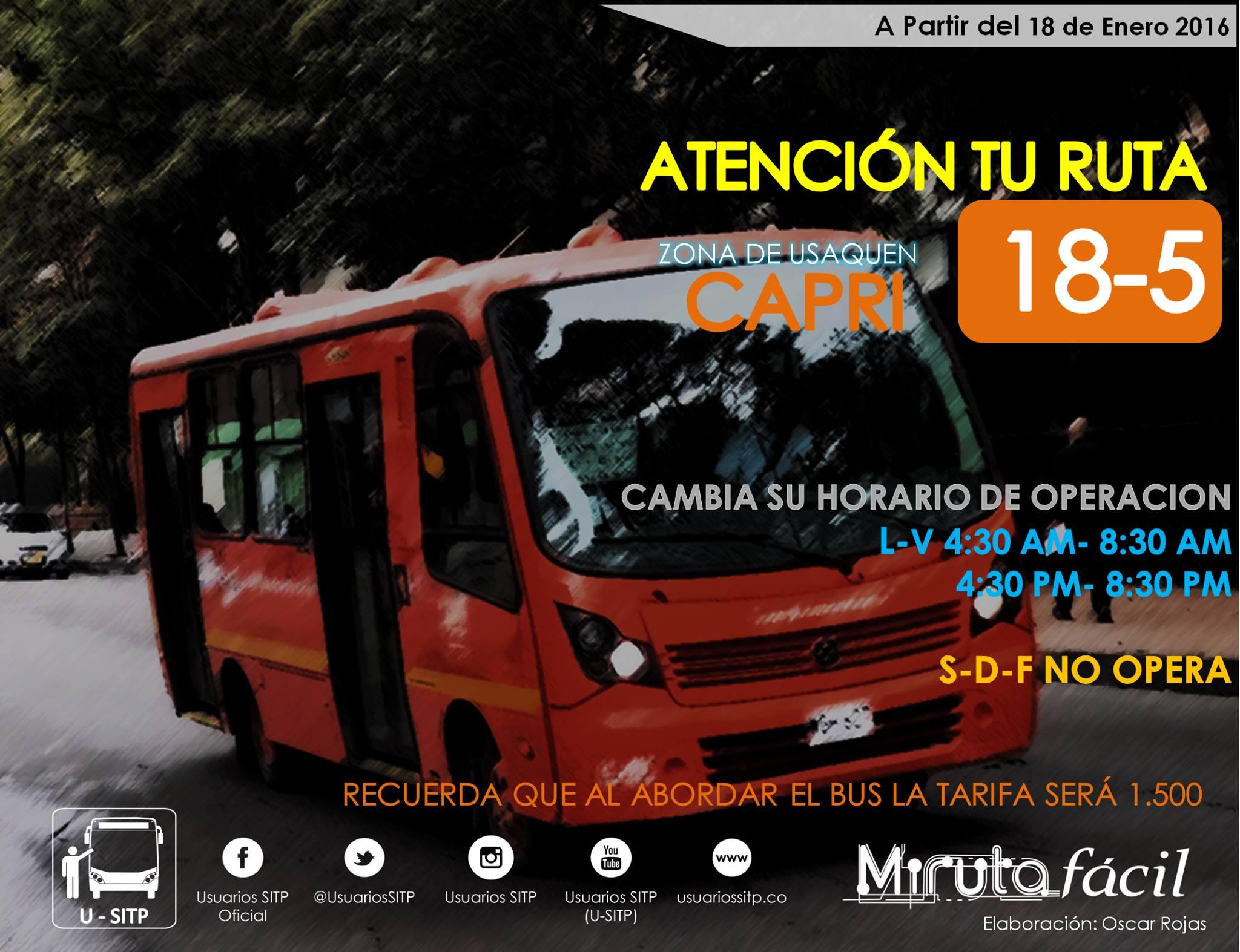 18-5 Capri, naranja, sólo operará entre semana y en horas pico