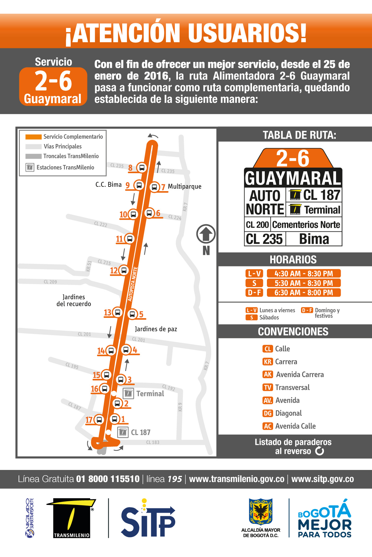 Ruta SITP: 2-6 Guaymaral [Complementaria]
