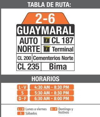 Ruta SITP: 2-6 Guaymaral [Complementaria] 2