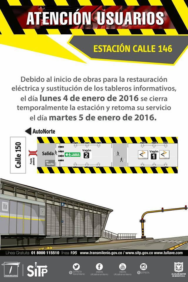 Estación de Transmilenio 146 estará cerrada