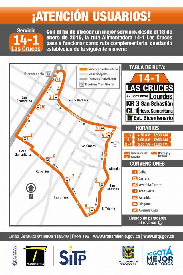 Ruta SITP: 14-1 → Las Cruces [Complementaria] 1