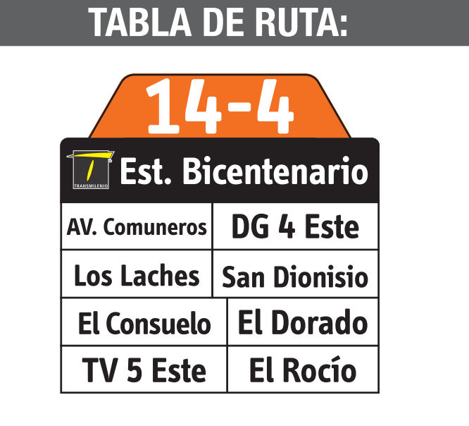 Ruta SITP: 14-4 → Laches [Complementaria] 2