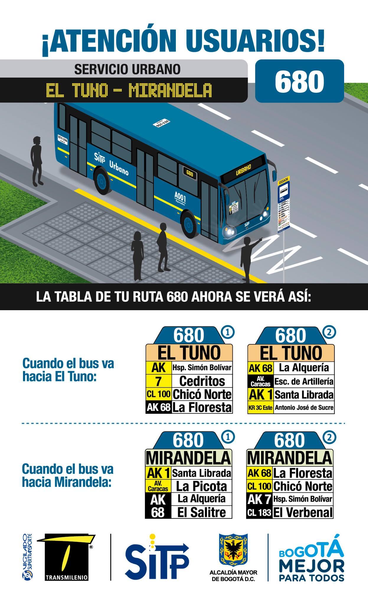 Urbana 680 del SITP extiende recorrido hasta Mirandela